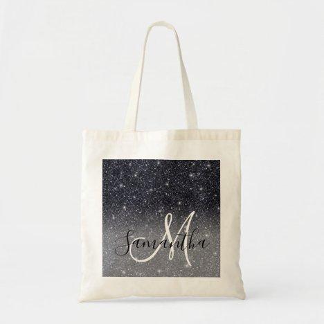 Modern Black Glitter Sparkles Personalized Name Tote Bag