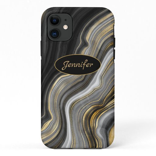 Modern Black & Gold Agate Crystal Personalize iPhone 11 Case