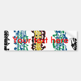 Modern black gold and red psychedelic car bumper sticker