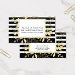 Modern Black Gold Botanical Glamour Refer a Friend Business Card