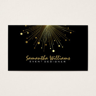Modern Black & Gold Color Burst Business Card
