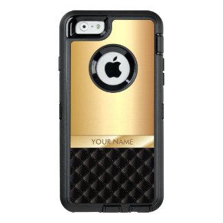 Modern Black & Gold Custom Name OtterBox Defender iPhone Case