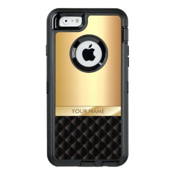 Modern Black & Gold Custom Name Otterbox Defender Iphone Case by caseplus at Zazzle