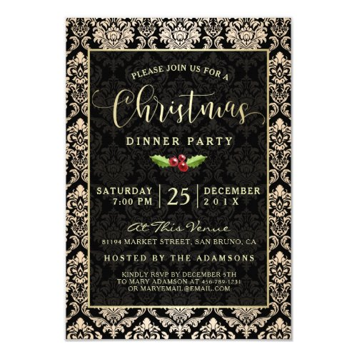 Modern Black  Gold Damask Christmas Dinner Party Invitation