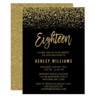 Modern Black Gold Faux Glitter 18th Birthday Card