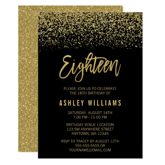 Modern Black Gold Faux Glitter 18th Birthday Card Zazzle Com