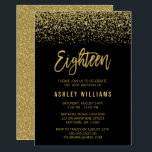 """Modern Black Gold Faux Glitter 18th Birthday Invitation<br><div class=""""desc"""">Glamorous black and gold faux glitter eighteenth birthday invitations. Designs are flat printed illustrations/graphics - NOT ACTUAL GLITTER.</div>"""