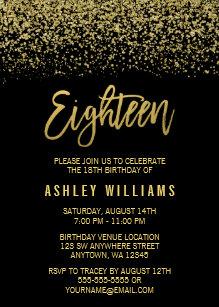 60 off 18th birthday invitations shop now to save zazzle modern black gold faux glitter 18th birthday invitation filmwisefo