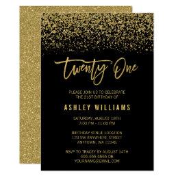 21st birthday invitations announcements zazzle modern black gold faux glitter 21st birthday card filmwisefo Gallery