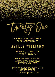 Black and gold 21st birthday invitations zazzle modern black gold faux glitter 21st birthday invitation filmwisefo