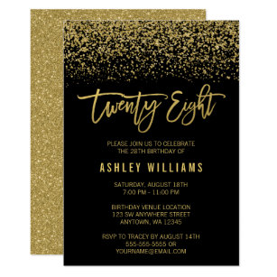 60 off 28th birthday invitations shop now to save zazzle modern black gold faux glitter 28th birthday invitation filmwisefo