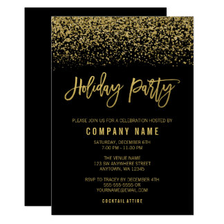 Modern Black Gold Faux Glitter Holiday Party Card