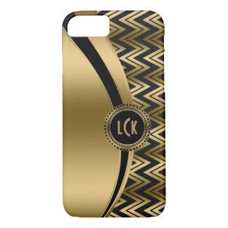 Modern Black & Gold Geometric Zigzag Chevron 2a iPhone 7 Case