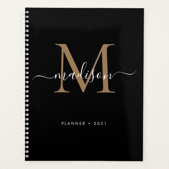 Modern Black Gold Girly Monogram Script Name 2021 Planner