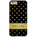 Modern Black Gold Glitter Polka Dots Barely There iPhone 6 Plus Case