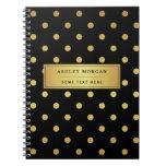 Modern Black Gold Glitter Polka Dots Notebook