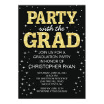 "Modern Black Gold Graduation Party Invitation 5"" X 7"" Invitation Card"