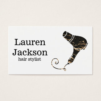 Modern Black & Gold Hair Dryer Art Business Card