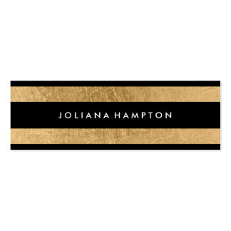 Modern Black Gold Luxe Business Card, foil skinny Double-Sided Mini Business Cards (Pack Of 20)