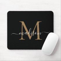 Modern Black Gold Monogram Elegant Girly Script Mouse Pad