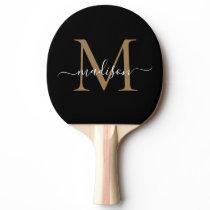 Modern Black Gold Monogram Elegant Script Name Ping Pong Paddle