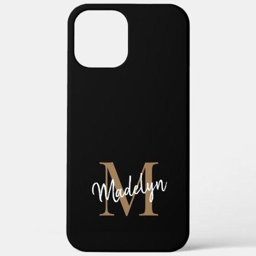 Modern Black Gold Monogram Feminine Script Name Phone Case