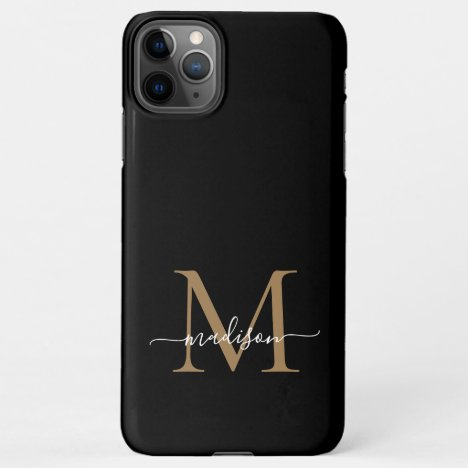 Modern Black Gold Monogram Feminine Script Name iPhone 11Pro Max Case