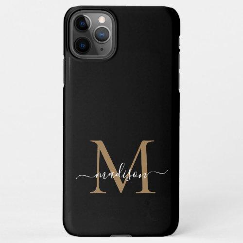 Modern Black Gold Monogram Feminine Script Name iPhone 11Pro Max Case