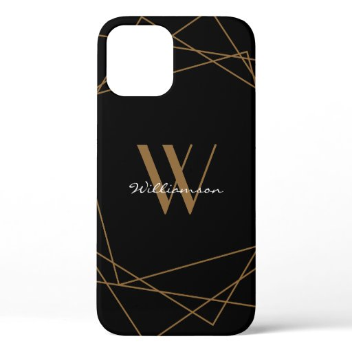 Modern Black Gold Monogram Geometric Name Script iPhone 12 Case