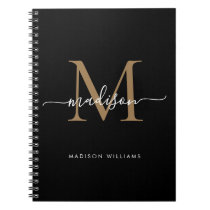 Modern Black Gold Monogram Script Name Initial Notebook