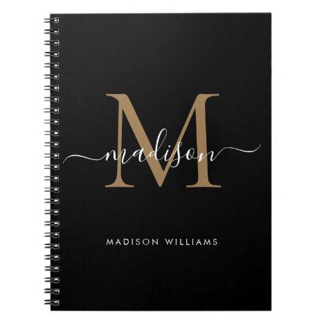 Modern Black Gold Monogram Script Name Initial Notebook