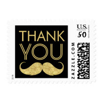 Modern Black & Gold Mustache Baby Shower Thank You Postage