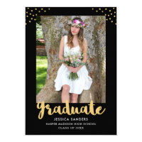 Modern Black Gold Photo Graduation Party Card