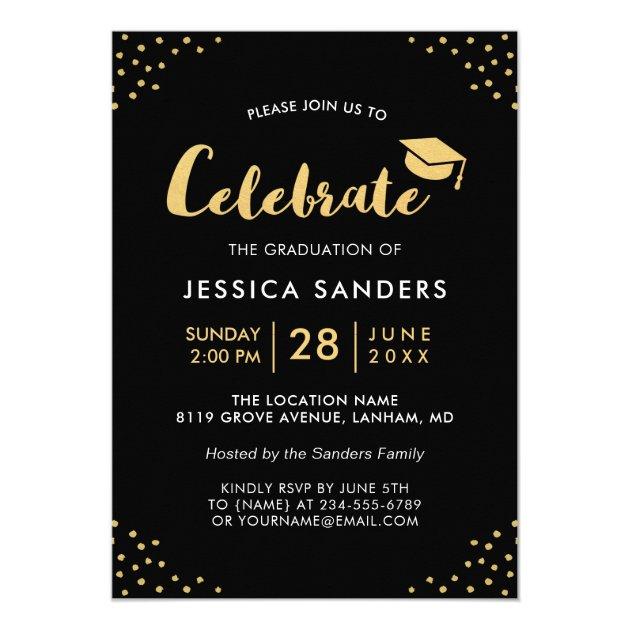 Modern Black Gold Photo Graduation Party Card (back side)