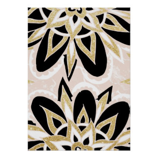Modern black gold pink abstract floral pattern poster