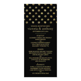 Modern Black & Gold Polka Dots Wedding Menu
