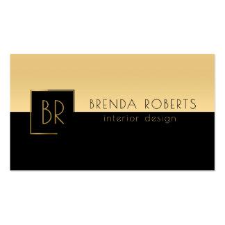 Modern Black & Gold Sharp Geometric Design Business Card