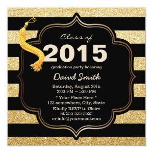 Modern Black & Gold Stripes Graduation Invitation