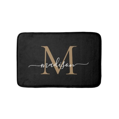 Modern Black Gold White Monogram Script Elegant Bath Mat