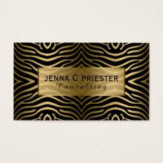 Modern Black & Gold Zebra Stripes Pattern Business Card at Zazzle