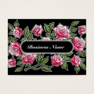 Modern Black Graphic Square Floral Business Card