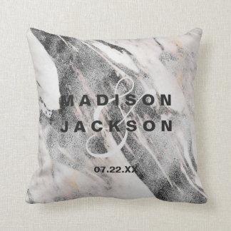 Modern Black & Gray Marble Wedding Monogram Throw Pillow