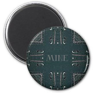 Modern Black Gray 'Mine' Goth Pattern Magnet