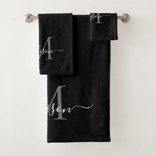 Modern Black Gray Silver Monogram Script Name Bath Towel Set