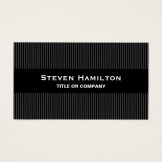 Modern black gray stripes masculine professional business card