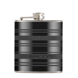 Modern Black & Gray Stripes Pattern Hip Flasks