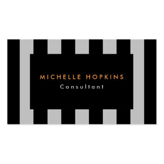 Modern Black Gray Stripes Professional Chic Business Card