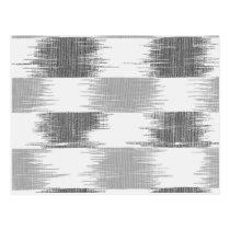 Modern black gray white ikat pattern postcard