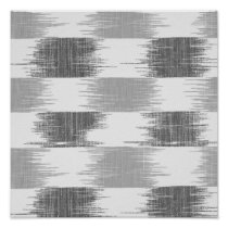 Modern black gray white ikat pattern poster