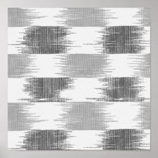 Modern black gray white ikat pattern poster